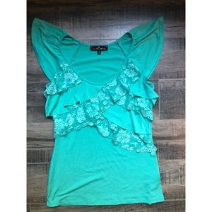 Teal top with ruffles and lace